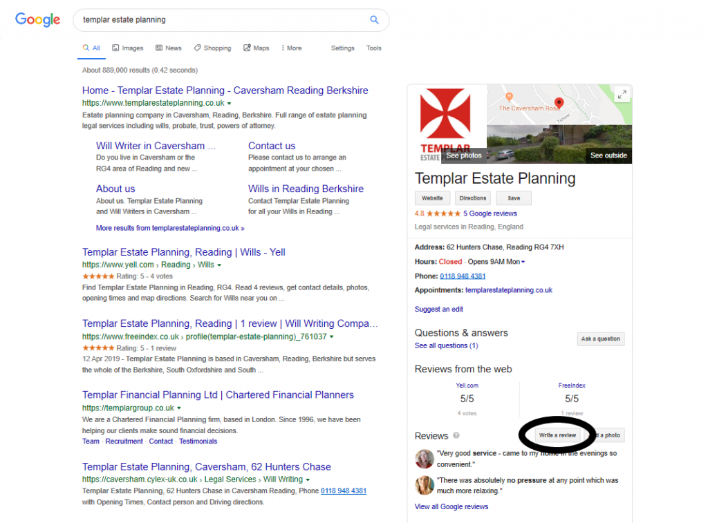 Add a Google Review for Templar Estate Planning in Caversham Reading